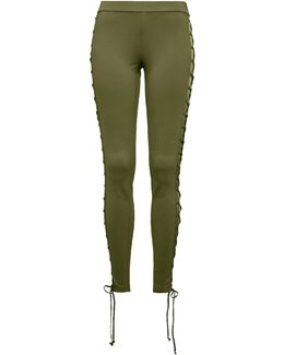 Lace-up Stretch-knit Leggings