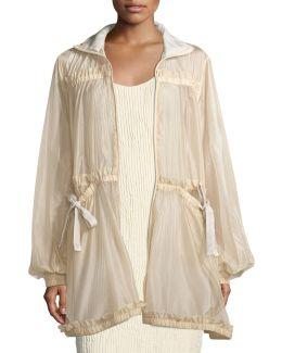 Tiered Sheer Zip-front Jacket W/ Bow-ties