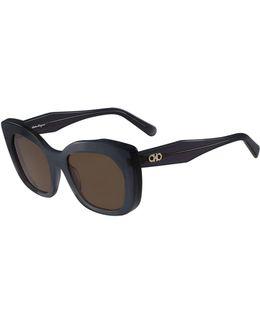 Square Faceted Gancini Sunglasses