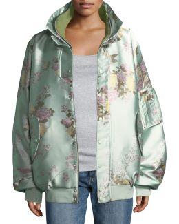 Reversible Floral-print Oversized Satin Bomber Jacket