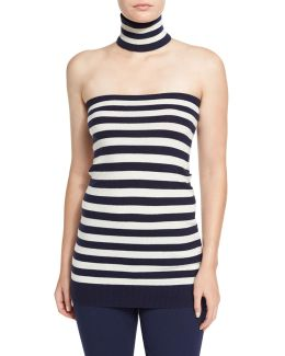 Striped Tube Top With Choker