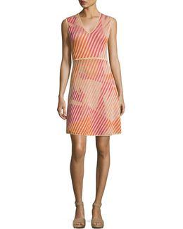 Sleeveless Geometric-patterned Knit Dress