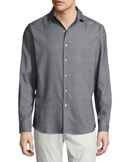 Textured Silk-cotton Sport Shirt