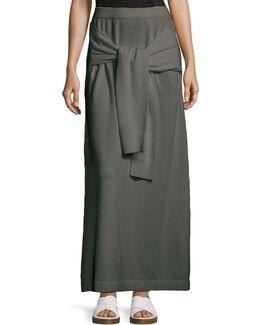 Tie-waist Knit Maxi Skirt