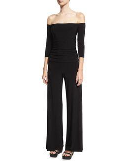 Off-the-shoulder Shirred Waist Coverup Jumpsuit