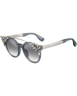 Vivy Round Rhinestone-clip Sunglasses