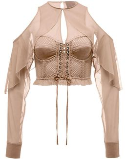 Mesh Bustier Top W/chiffon Sleeves