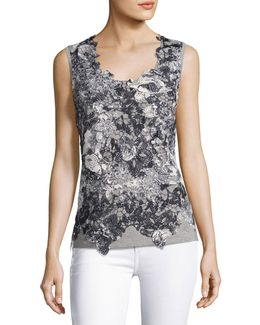 Leandra Sleeveless Lace-front Blouse