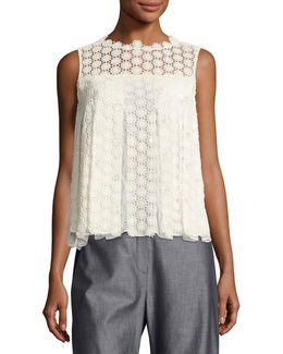 Dionne Sleeveless Cotton Lace Blouse