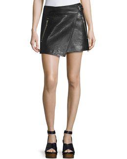 Kakili Leather Wrap-front Mini Skirt