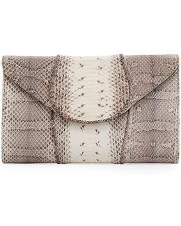 Babo Snakeskin Flap Clutch Bag
