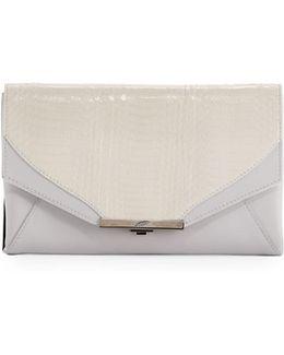 Roya Leather & Snakeskin Envelope Clutch Bag