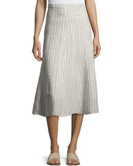 Zimri Narrow Striped Linen Skirt