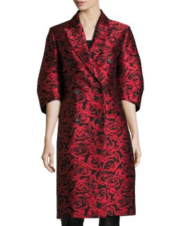 Rose Jacquard Ruched-sleeve Double-breasted Coat