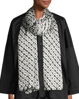 Small Diamond Shibori Silk Scarf