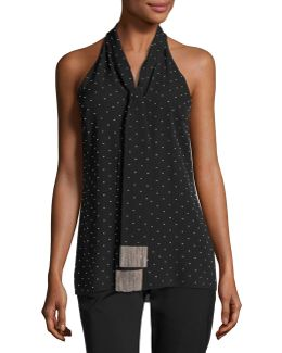 Beaded Silk Sleeveless Tie-neck Top