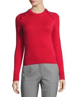 Button-detail Cashmere Crewneck Sweater