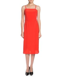 Sleeveless Crepe Slip Dress