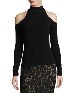 Cold-shoulder Mock-neck Sweater