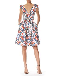 Poppy Cap-sleeve Belted A-line Dress