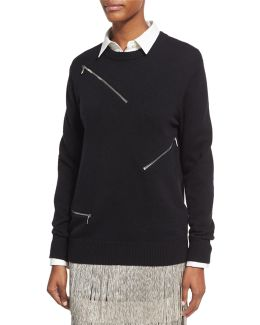 Zip-detail Crewneck Sweater