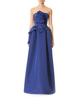 Strapless Silk Faille Ruffle-front Gown