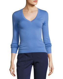 Knit Cashmere V-neck Sweater