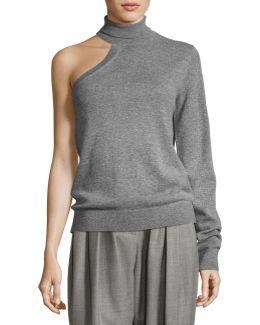 One-sleeve Cashmere Turtleneck Sweater