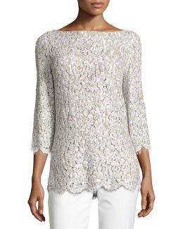 Embellished Lace 3/4-sleeve Tunic Top