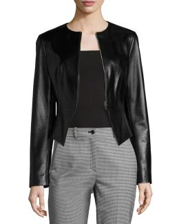 Modern Leather Peplum Jacket