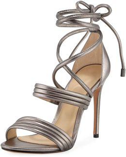 Isis Metallic Ankle-wrap Sandal