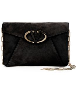 V Rivet Suede Clutch Bag
