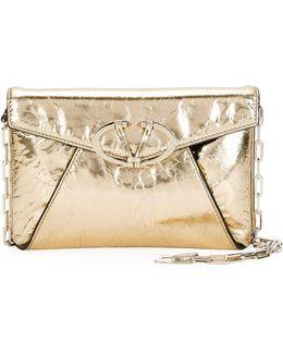 V Rivet Metallic Leather Clutch Bag