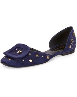 Chips Studded Suede D'orsay Flat