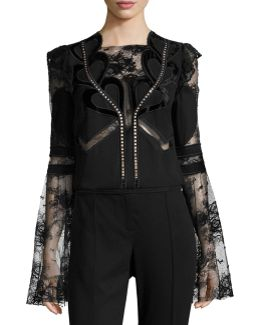 Lace & Crepe Bell-sleeve Top With Velvet Hearts