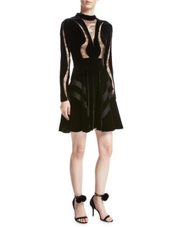Long-sleeve Lace-inset Velvet Cocktail Dress