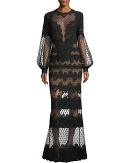 Lace-embroidered Swiss Dot Gown