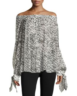 Printed Silk Off-shoulder Top