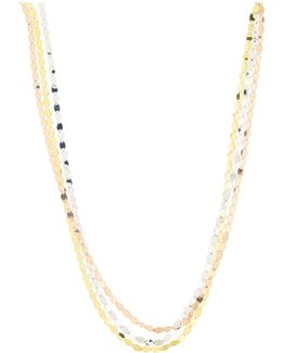 Nude Tricolor Flat Link Necklace In 14k Gold
