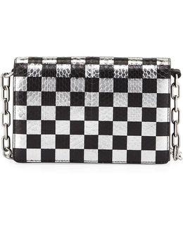 Attica Checkered Leather & Snakeskin Shoulder Bag