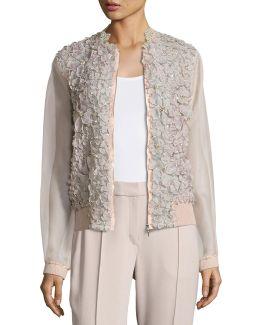 Suri Floral Silk Organza Bomber Jacket