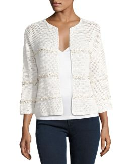 Jacquine Open-front Cardigan Sweater