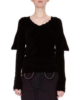 Knit Puff-sleeve Open-back Sweater