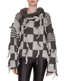 Chunky-knit Checkerboard Sweater