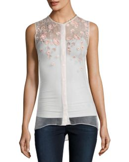 Camila Sleeveless Embroidered Sheer Silk Blouse