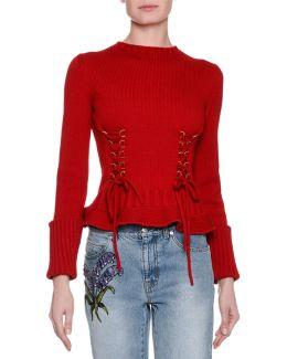 Knit Lace-up Sweater