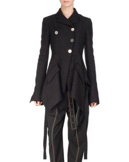 Asymmetric Tweed Coat