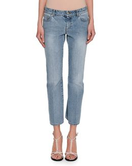 Cropped Denim Kickback Jeans