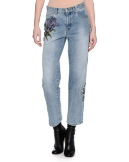 Embroidered Denim Ankle Jeans