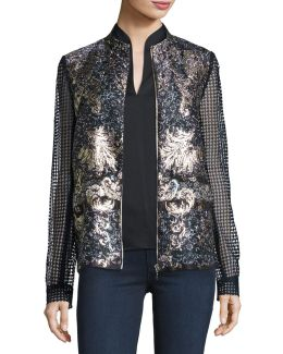 Orchid Floral-print Lace-sleeve Jacket